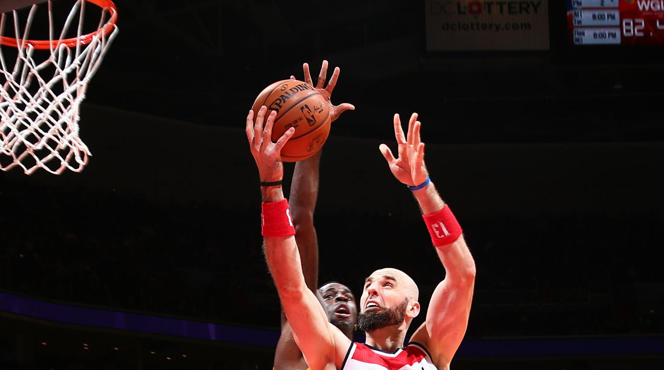 WASHINGTON, DC -  DECEMBER 2: Marcin Gortat #13 of the Washington Wizards shoots the ball during the game against the Los Angeles Lakers on December 2, 2015 at Verizon Center in Washington, DC. (Photo by Ned Dishman/NBAE via Getty Images)