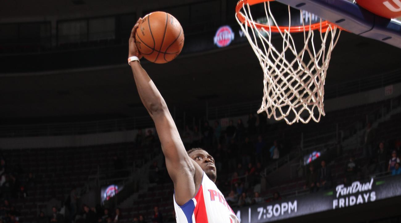 AUBURN HILLS, MI - DECEMBER 2:  Reggie Jackson #1 of the Detroit Pistons goes to the basket against the Phoenix Suns on December 2, 2015 at The Palace of Auburn Hills in Auburn Hills, Michigan. (Photo by B. Sevald/Einstein/NBAE via Getty Images)