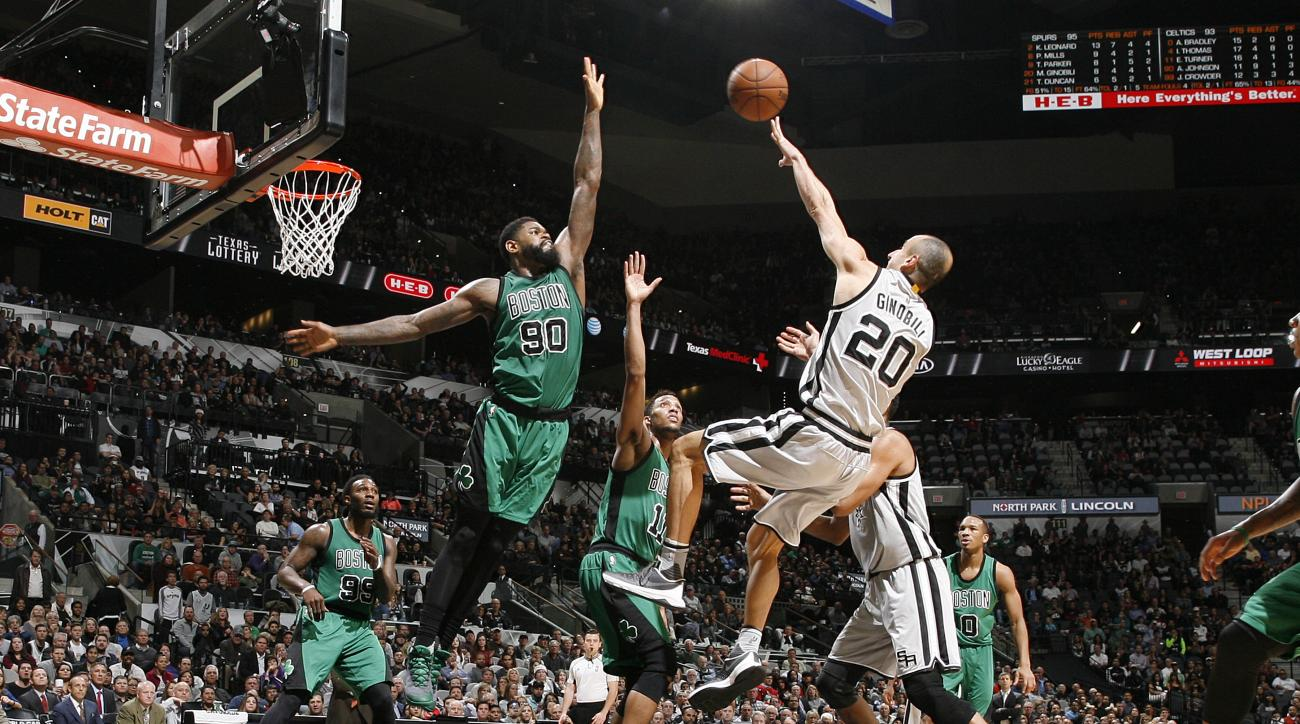 SAN ANTONIO, TX - DECEMBER 5: Manu Ginobili #20 of the San Antonio Spurs shoots the ball during the game against the Boston Celtics on December 5, 2015 at the AT&T Center in San Antonio, Texas.