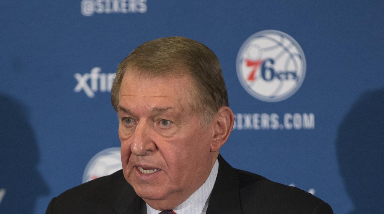 Naismith Memorial Basketball Hall of Fame member and Chairman of the Board of Directors for USA Basketball Jerry Colangelo talks to the media as he will be joining the Philadelphia 76ers as the Special Advisor to the Managing General Partner and Chairman