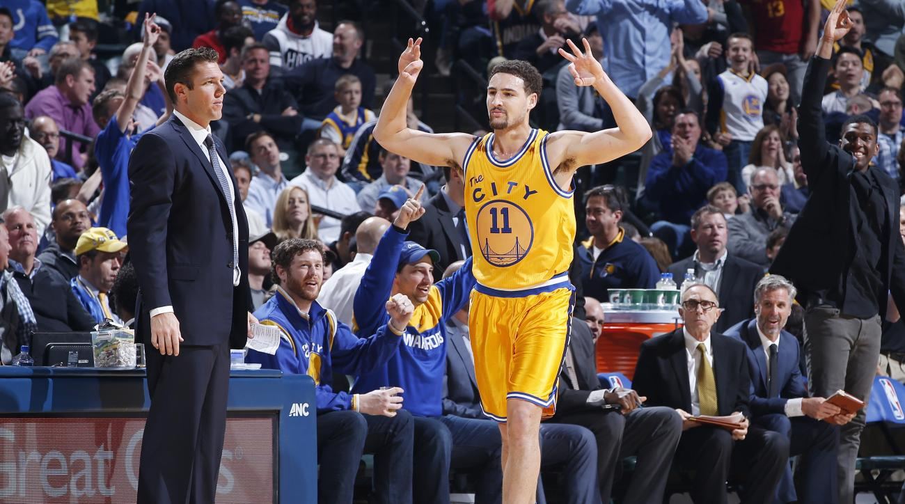 INDIANAPOLIS, IN - DECEMBER 8: Klay Thompson #11 of the Golden State Warriors reacts after making a three-point basket against the Indiana Pacers in the first half of the game at Bankers Life Fieldhouse on December 8, 2015 in Indianapolis, Indiana. (Photo