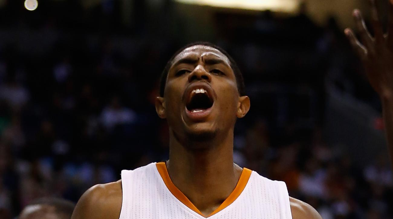 PHOENIX, AZ - DECEMBER 09:  Brandon Knight #3 of the Phoenix Suns reacts after scoring against the Orlando Magic during the second half of the NBA game at Talking Stick Resort Arena on December 9, 2015 in Phoenix, Arizona. The Suns defeated the Magic 107-