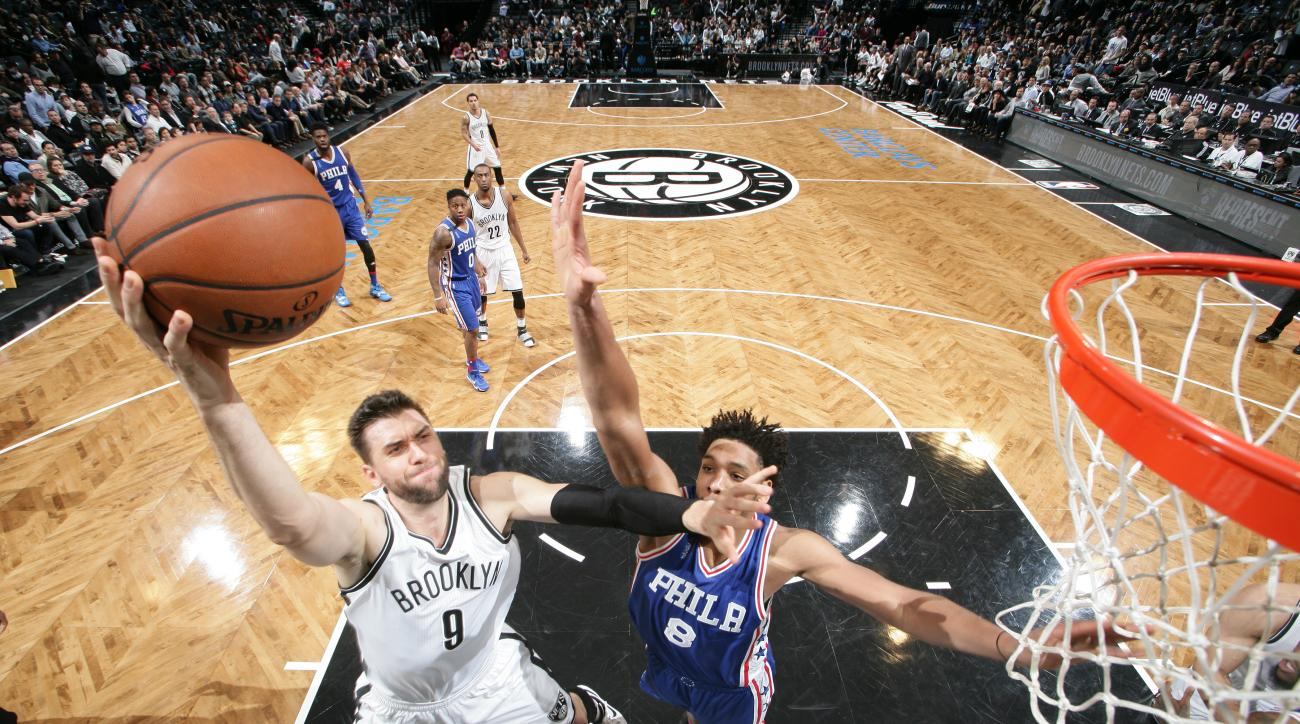 BROOKLYN, NY - DECEMBER 10:  Andrea Bargnani #9 of the Brooklyn Nets shoots the ball against the Philadelphia 76ers on December 10, 2015 at Barclays Center in Brooklyn, New York. (Photo by Nathaniel S. Butler/NBAE via Getty Images)