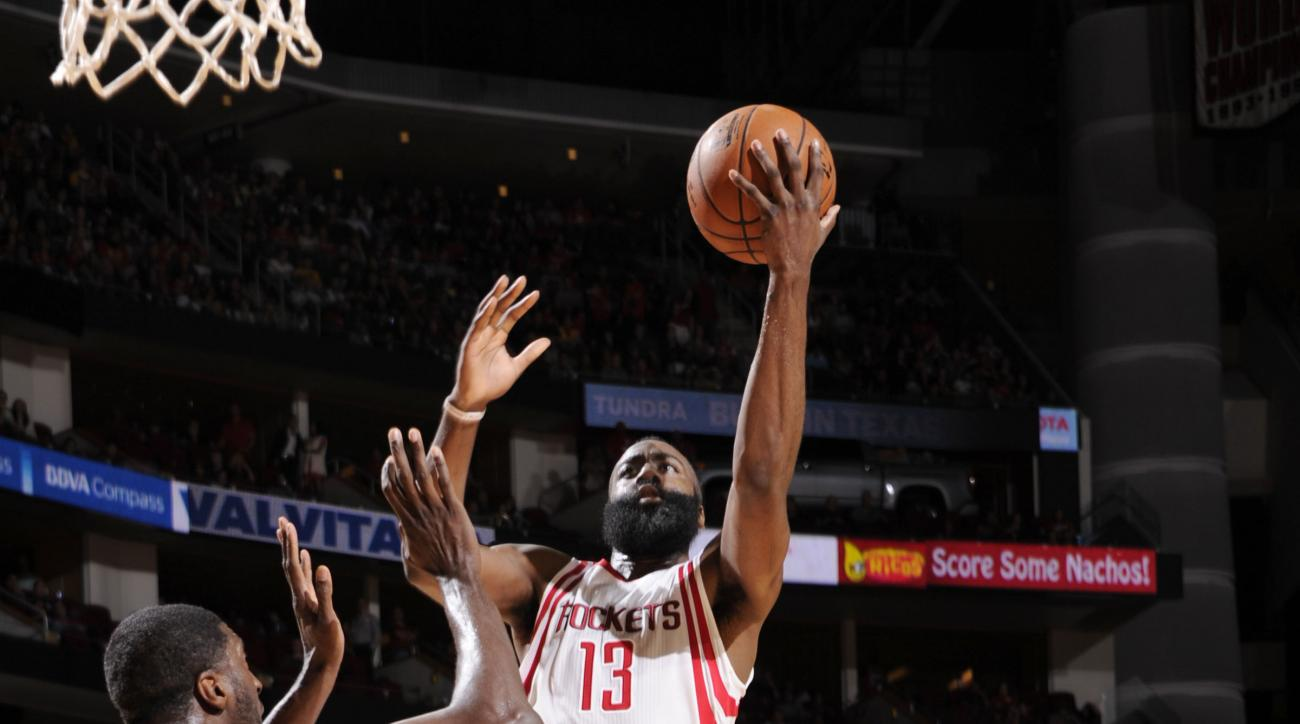 HOUSTON, TX - DECEMBER 12: James Harden #13 of the Houston Rockets shoots the ball against the Los Angeles Lakers on December 12, 2015 at the Toyota Center in Houston, Texas. (Photo by Bill Baptist/NBAE via Getty Images)