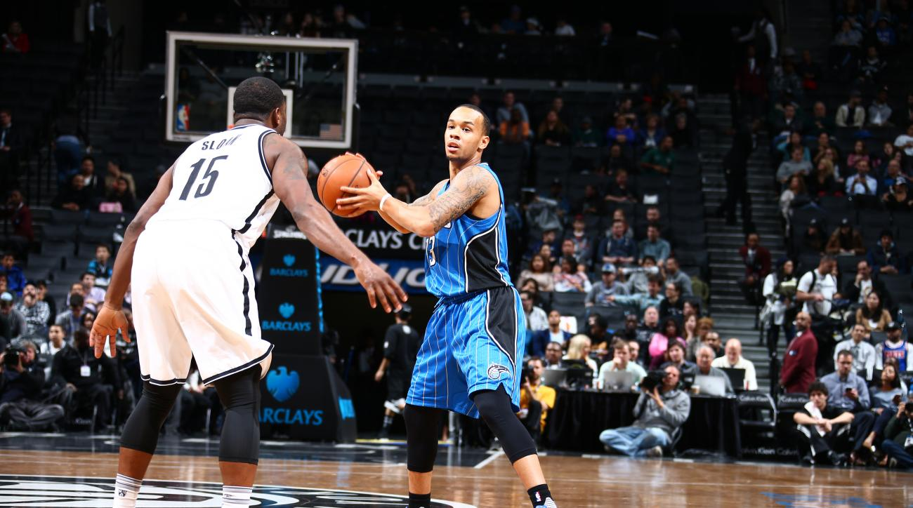 BROOKLYN, NY - DECEMBER 14:  Shabazz Napier #13 of the Orlando Magic handles the ball against the Brooklyn Nets on December 14, 2015 at Barclays Center in Brooklyn, New York. (Photo by Nathaniel S. Butler/NBAE via Getty Images)