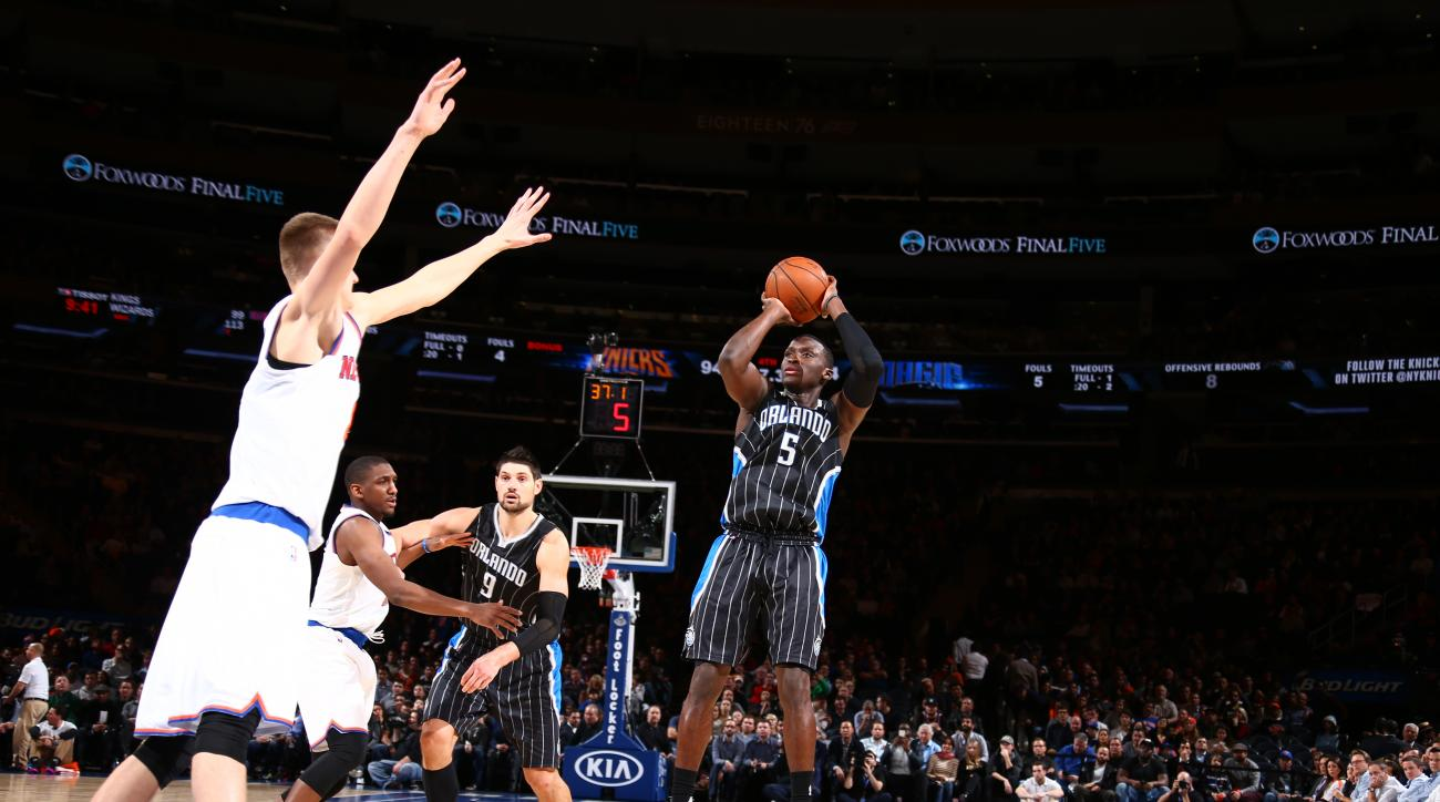 NEW YORK, NY - DECEMBER 21:  Victor Oladipo #5 of the Orlando Magic shoots against the New York Knicks on December 21, 2015 at Madison Square Garden in New York City.  (Photo by Nathaniel S. Butler/NBAE via Getty Images)