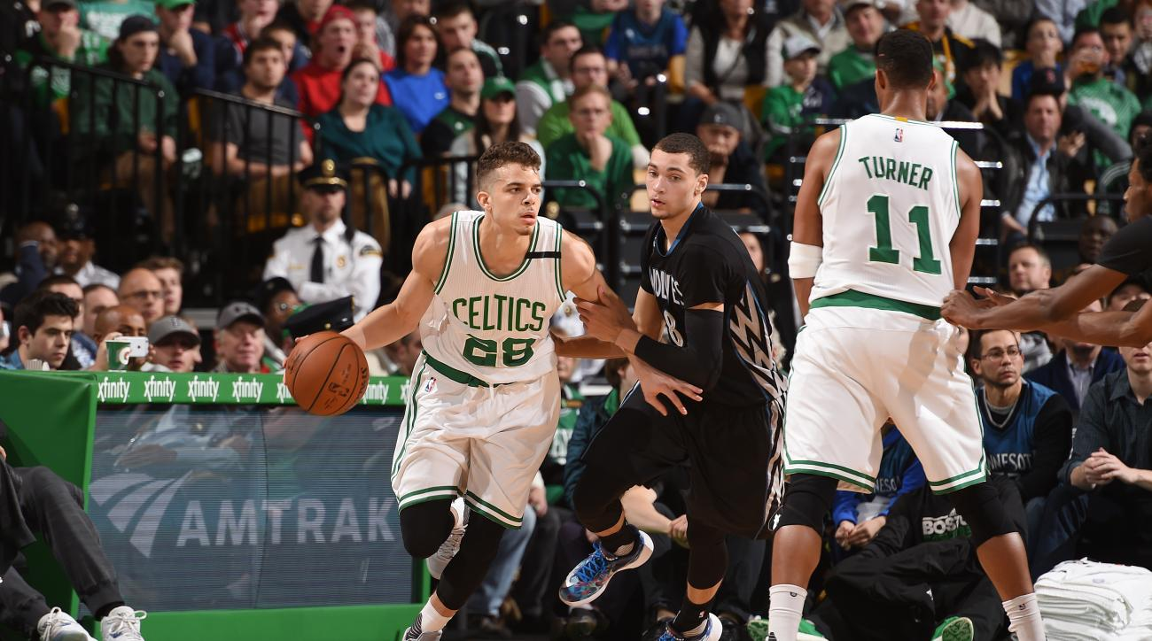 BOSTON, MA - DECEMBER 21: R.J. Hunter #28 of the Boston Celtics handles the ball during the game against the Minnesota Timberwolves on December 21, 2015 at TD Garden in Boston, Massachusetts. (Photo by Brian Babineau/NBAE via Getty Images)