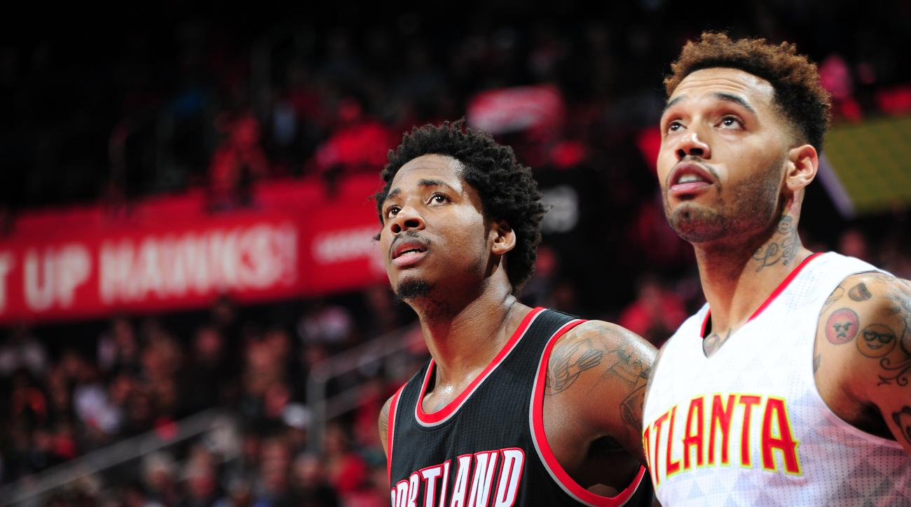 ATLANTA, GA - DECEMBER 21: Ed Davis #17 of the Portland Trail Blazers and Mike Scott #32 of the Atlanta Hawks look on during the game on December 21, 2015 at Philips Arena in Atlanta, Georgia. (Photo by Scott Cunningham/NBAE via Getty Images)