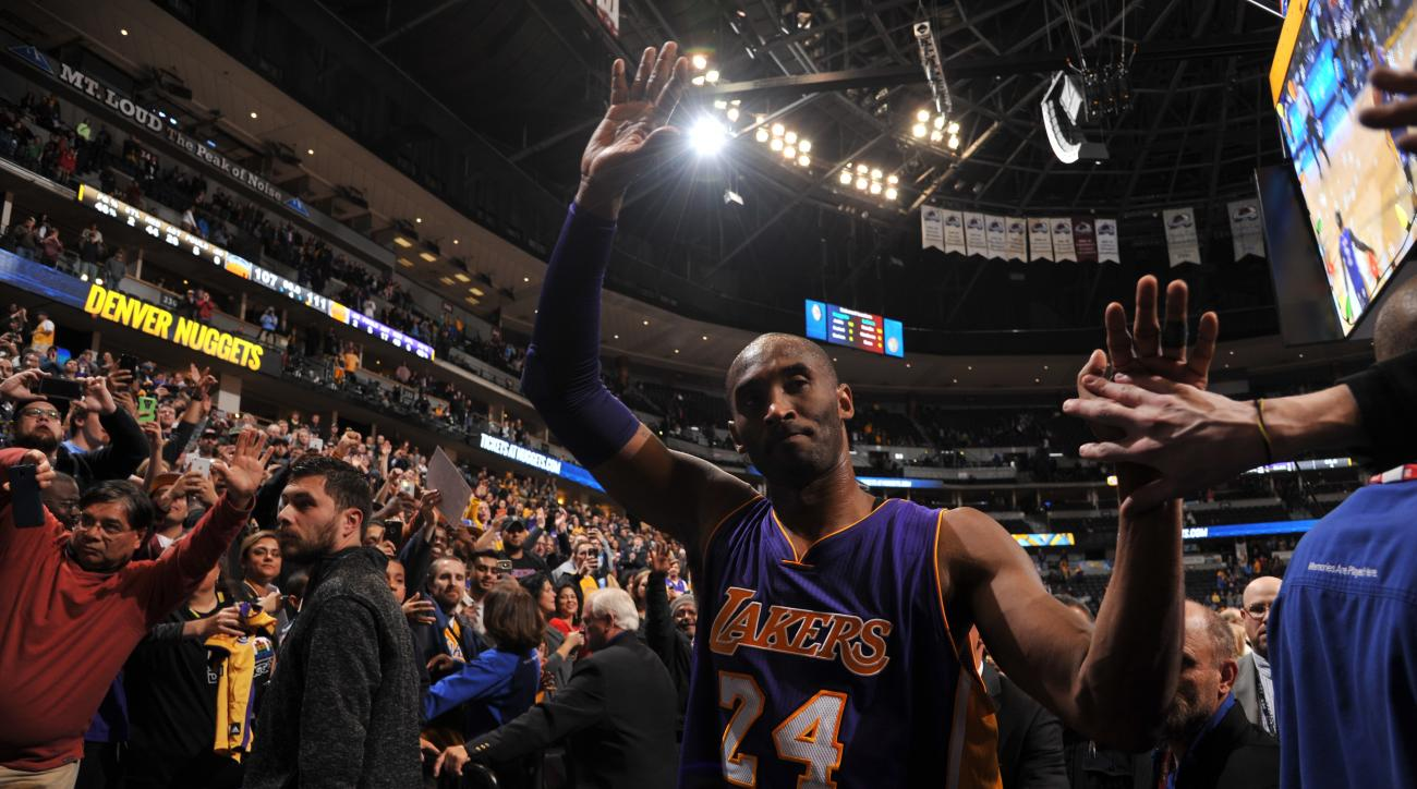 DENVER, CO - DECEMBER 22:  Kobe Bryant #24 of the Los Angeles Lakers leaves the court after the game against the Denver Nuggets on December 22, 2015 at the Pepsi Center in Denver, Colorado. (Photo by Bart Young/NBAE via Getty Images)