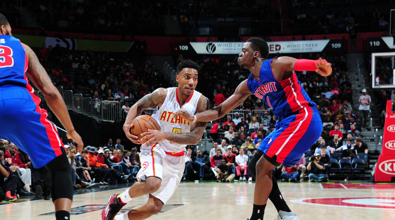 ATLANTA, GA - DECEMBER 23: Jeff Teague #0 of the Atlanta Hawks handles the ball against the Detroit Pistons on December 23, 2015 at Philips Arena in Atlanta, Georgia.  (Photo by Scott Cunningham/NBAE via Getty Images)