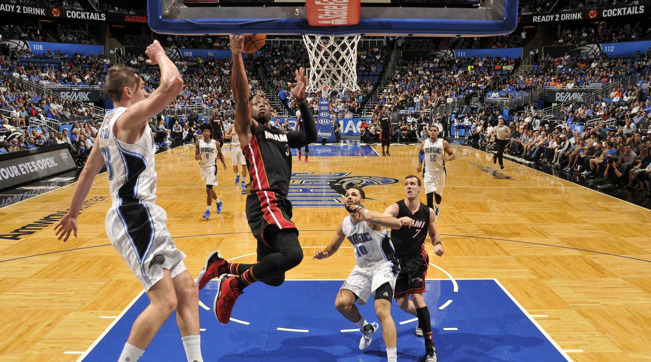 ORLANDO, FL - DECEMBER 26: Dwyane Wade #3 of the Miami Heat shoots the ball against the Orlando Magic  on December 26, 2015 at the Amway Center in Orlando, Florida. (Photo by Fernando Medina/NBAE via Getty Images)