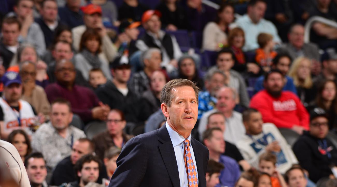 PHOENIX, AZ - DECEMBER 26:  Head Coach Jeff Hornacek of the Phoenix Suns looks on during the game against the Philadelphia 76ers on December 26, 2015 at Talking Stick Resort Arena in Phoenix, Arizona. (Photo by Barry Gossage/NBAE via Getty Images)