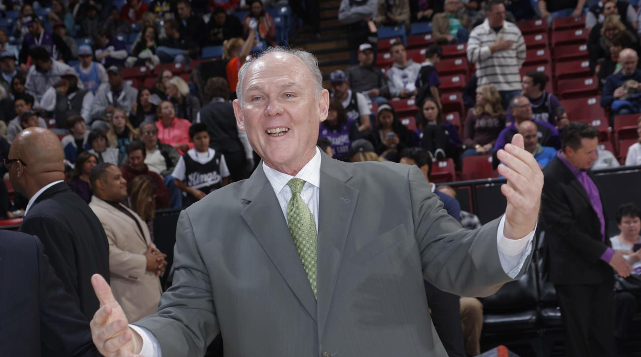 SACRAMENTO, CA - DECEMBER 30: Head coach George Karl of the Sacramento Kings get ready to take on the Philadelphia 76ers at Sleep Train Arena on December 30 2015 in Sacramento, California. (Photo by Rocky Widner/NBAE via Getty Images)