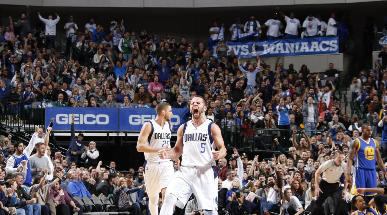 DALLAS, TX - DECEMBER 30: Jose Juan Barea #5 of the Dallas Mavericks celebrates a made shot against the Golden State Warriors on December 30, 2015 at the American Airlines Center in Dallas, Texas. (Photo by Danny Bollinger/NBAE via Getty Images)