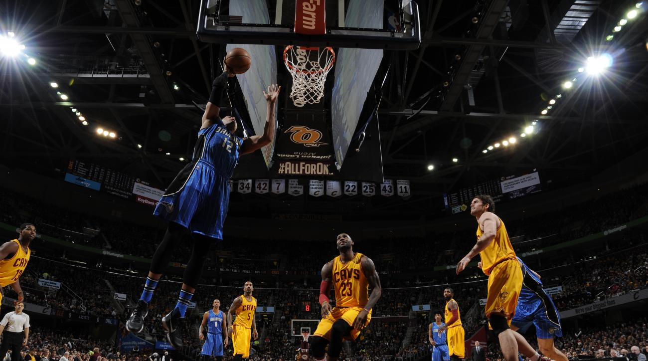CLEVELAND, OH - JANUARY 2:  Tobias Harris #12 of the Orlando Magic goes to the basket against the Cleveland Cavaliers on January 2, 2016 at Quicken Loans Arena in Cleveland, Ohio. (Photo by David Liam Kyle/NBAE via Getty Images)