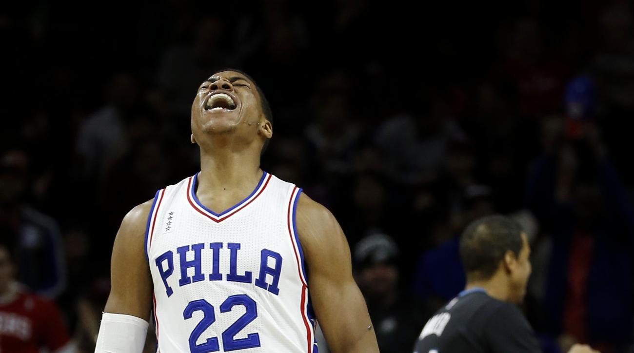 Philadelphia 76ers' Richaun Holmes reacts after scouring during the second half of an NBA basketball game against the Minnesota Timberwolves, Monday, Jan. 4, 2016, in Philadelphia. Philadelphia won 109-99. (AP Photo/Matt Slocum)