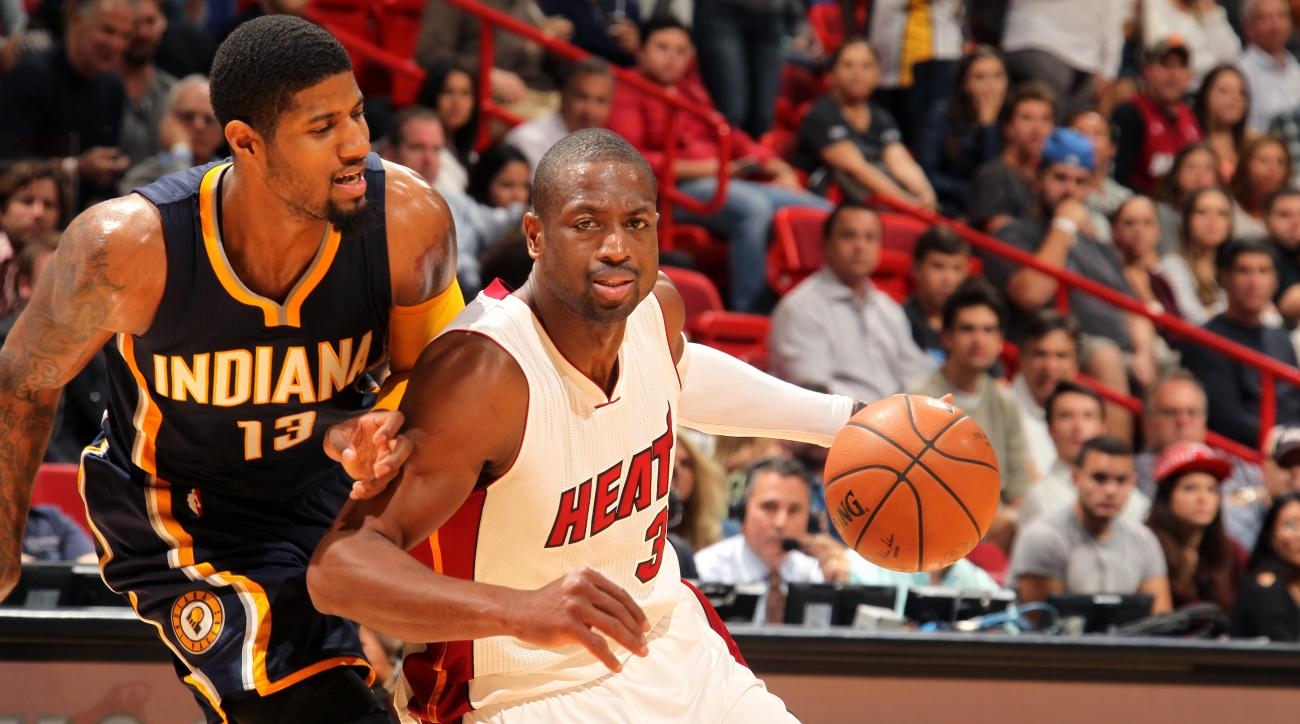 MIAMI, FL - JANUARY 4: Dwyane Wade #3 of the Miami Heat drives to the basket during the game against the Indiana Pacers on January 4, 2016 at AmericanAirlines Arena in Miami, Florida. (Photo by Issac Baldizon/NBAE via Getty Images)