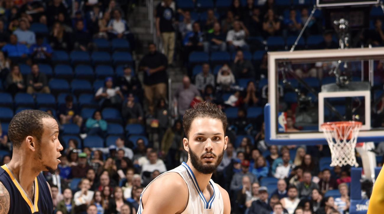 ORLANDO, FL - JANUARY 6: Evan Fournier #10 of the Orlando Magic handles the ball during the game against the Indiana Pacers on January 6, 2016 at Amway Center in Orlando, Florida. (Photo by Fernando Medina/NBAE via Getty Images)