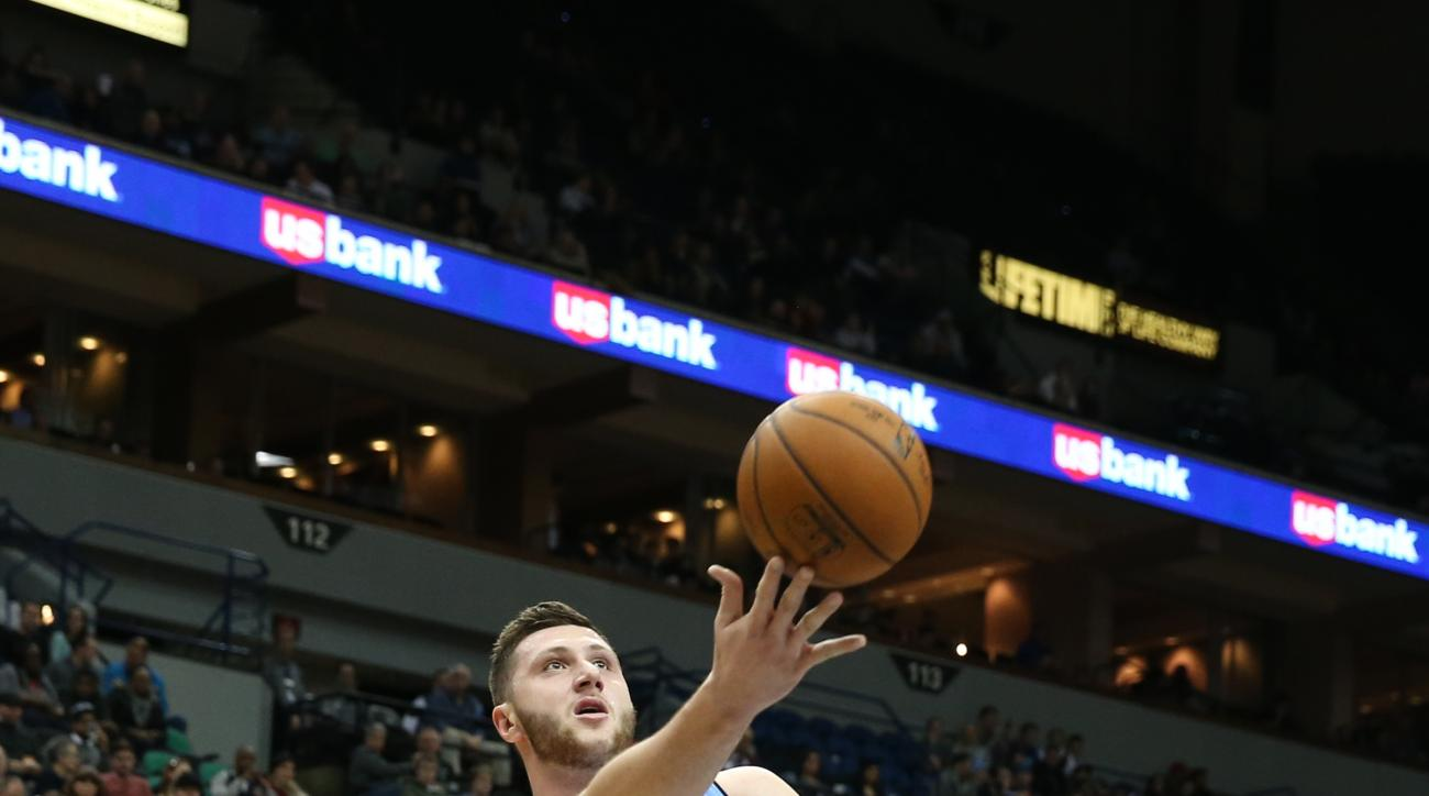 MINNEAPOLIS, MN -  JANUARY 6:  Jusuf Nurkic #23 of the Denver Nuggets shoots the ball against the Minnesota Timberwolves on January 6, 2016 at Target Center in Minneapolis, Minnesota. (Photo by Jordan Johnson/NBAE via Getty Images)