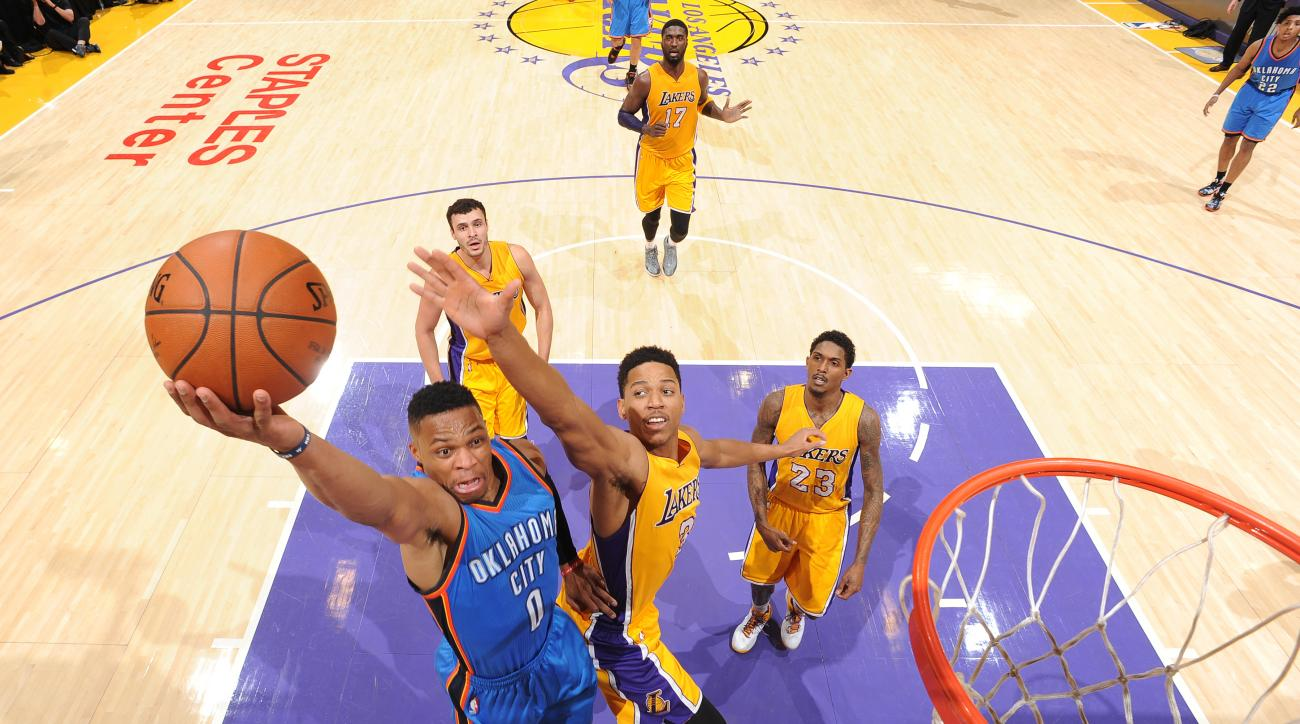 LOS ANGELES, CA - JANUARY 8:  Russell Westbrook #0 of the Oklahoma City Thunder shoots the ball against the Los Angeles Lakers on January 8, 2016 at STAPLES Center in Los Angeles, California. (Photo by Andrew D. Bernstein/NBAE via Getty Images)