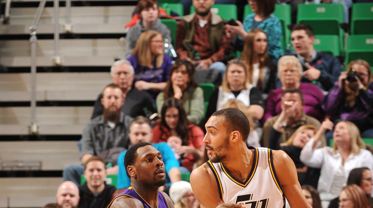 SALT LAKE CITY, UT - JANUARY 16: Rudy Gobert #27 of the Utah Jazz handles the ball during the game against the Los Angeles Lakers on January 16, 2016 at EnergySolutions Arena in Salt Lake City, Utah. (Photo by Noah Graham/NBAE via Getty Images)
