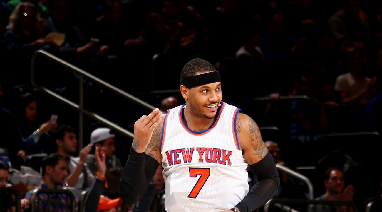 NEW YORK, NY - JANUARY 18:  Carmelo Anthony #7 of the New York Knicks celebrates during the game against the Philadelphia 76ers on January 18, 2016 at Madison Square Garden in New York City, New York.  (Photo by Nathaniel S. Butler/NBAE via Getty Images)