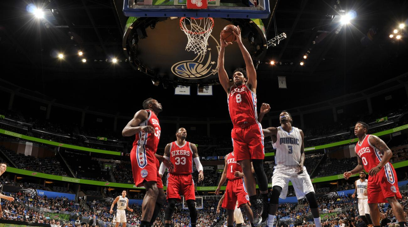 ORLANDO, FL - JANUARY 20: Jahlil Okafor #8 of the Philadelphia 76ers goes for the lay up against the Orlando Magic during the game on January 20, 2016 at Amway Center in Orlando, Florida. (Photo by Fernando Medina/NBAE via Getty Images)