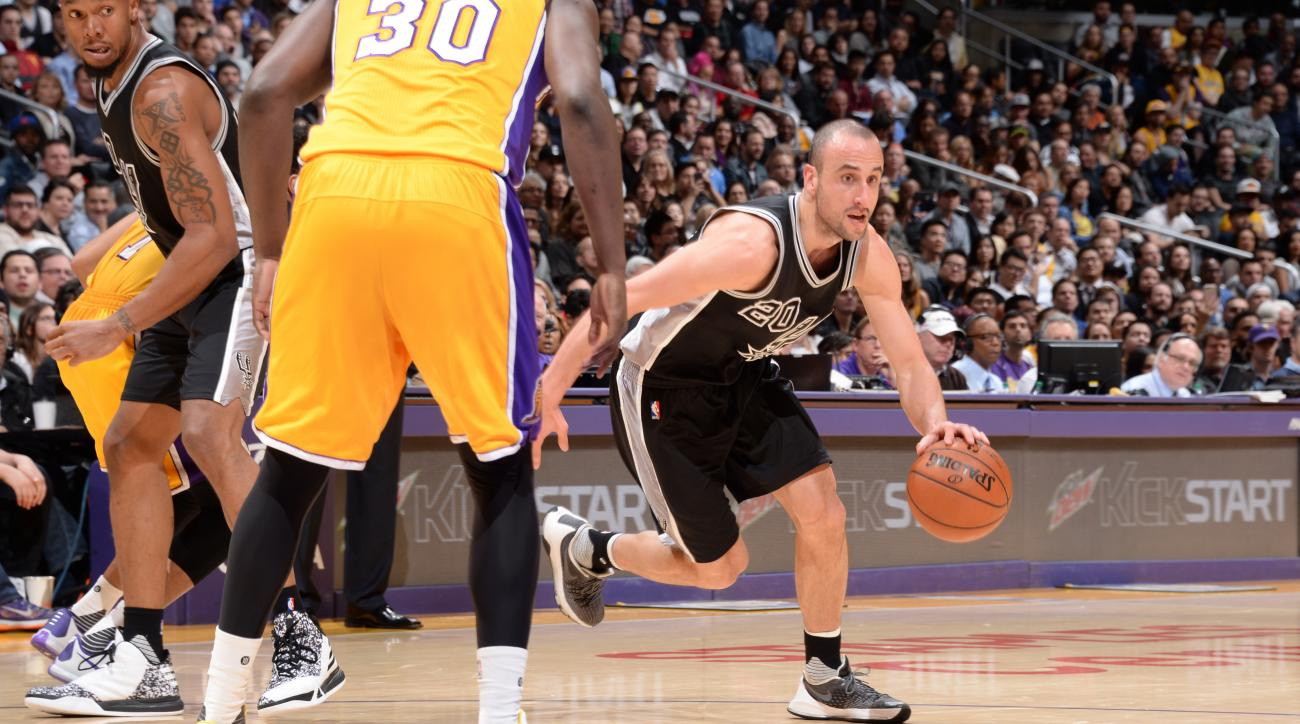 LOS ANGELES, CA - JANUARY 22: Manu Ginobili #20 of the San Antonio Spurs drives to the basket against the Los Angeles Lakers during the game on January 22, 2016 at STAPLES Center in Lost Angeles, California. (Photo by Andrew Bernstein/NBAE via Getty Image
