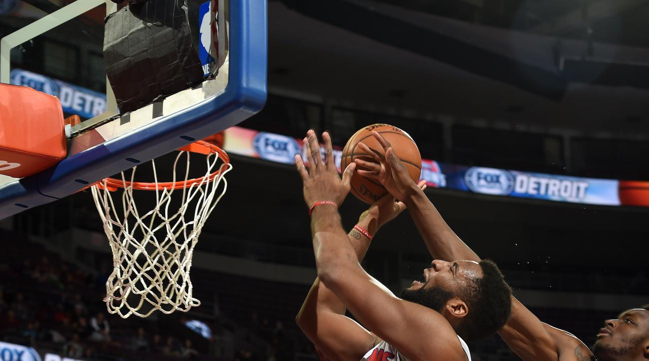 AUBURN HILLS, MI - JANUARY 27: Andre Drummond #0 of the Detroit Pistons goes for the lay up during the game against the Philadelphia 76ers on January 27, 2016 at The Palace of Auburn Hills in Auburn Hills, Michigan. (Photo by Allen Einstein/NBAE via Getty