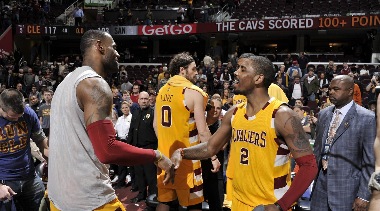 CLEVELAND, OH - JANUARY 30:  LeBron James #23 of the Cleveland Cavaliers celebrates with Kyrie Irving #2 of the Cleveland Cavaliers after the game against the San Antonio Spurs on January 30, 2016 at Quicken Loans Arena in Cleveland, Ohio. (Photo by David
