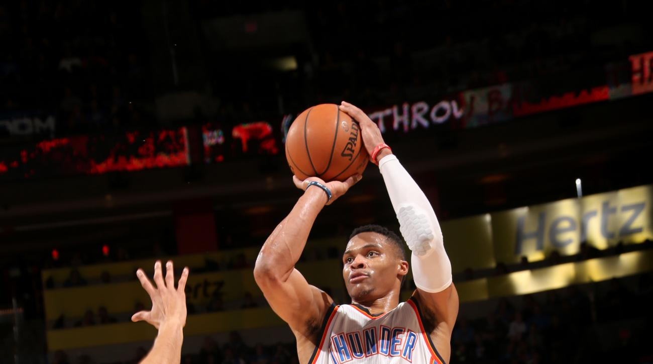 OKLAHOMA CITY, OK- FEBRUARY 1: Russell Westbrook #0 of the Oklahoma City Thunder shoots the ball during the game against the Washington Wizards on February 1, 2016 at Chesapeake Energy Arena in Oklahoma City, Oklahoma. (Photo by Layne Murdoch/NBAE via Get