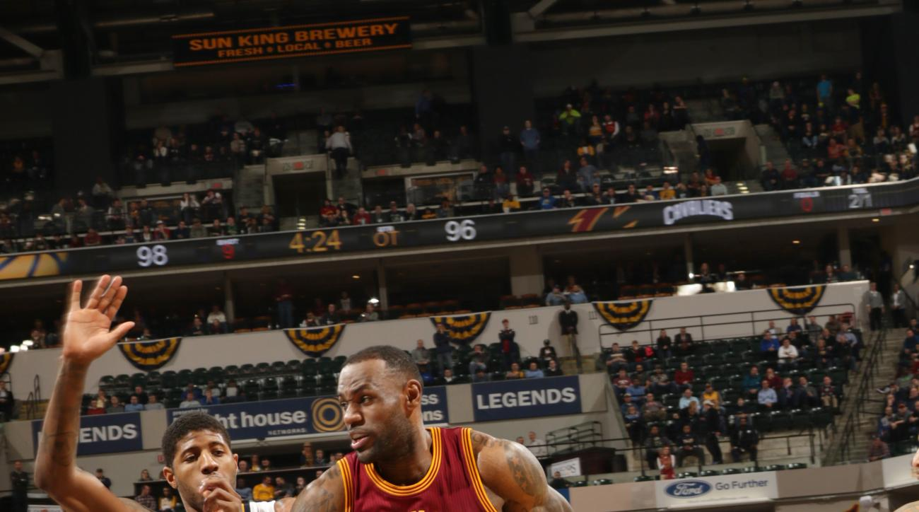 INDIANAPOLIS, IN - FEBRUARY 1: LeBron James #23 of the Cleveland Cavaliers drives to the basket during the game against the Indiana Pacers on February 1, 2016 at Bankers Life Fieldhouse in Indianapolis, Indiana. (Photo by Ron Hoskins/NBAE via Getty Images