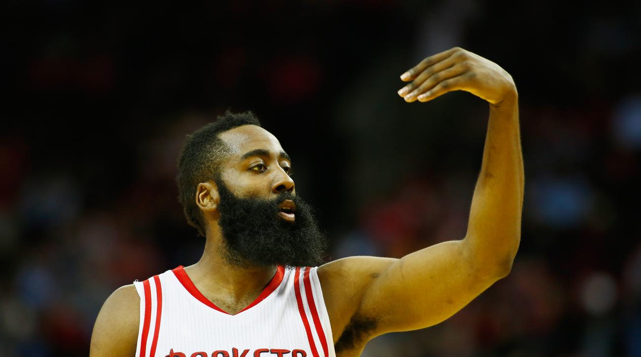 HOUSTON, TX - FEBRUARY 02:  James Harden #13 of the Houston Rockets reacts to a basket against the Miami Heat during their game at the Toyota Center on February 2, 2016  in Houston, Texas. (Photo by Scott Halleran/Getty Images)