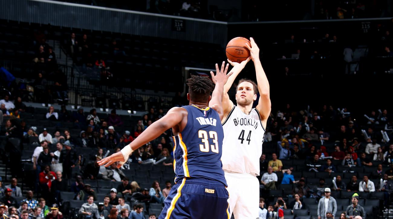 BROOKLYN, NY - FEBRUARY 3: Bojan Bogdanovic #44 of the Brooklyn Nets shoots against Myles Turner #33 of the Indiana Pacers during the game on February 3, 2016 at Barclays Center in Brooklyn, New York. (Photo by Nathaniel S. Butler/NBAE via Getty Images)