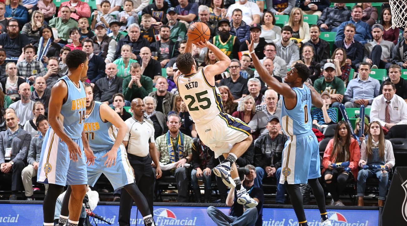 SALT LAKE CITY, UT - FEBRUARY 3: Raul Neto #25 of the Utah Jazz shoots the ball against the Denver Nuggets on February 3, 2016 at vivint.SmartHome Arena in Salt Lake City, Utah. (Photo by Melissa Majchrzak/NBAE via Getty Images)