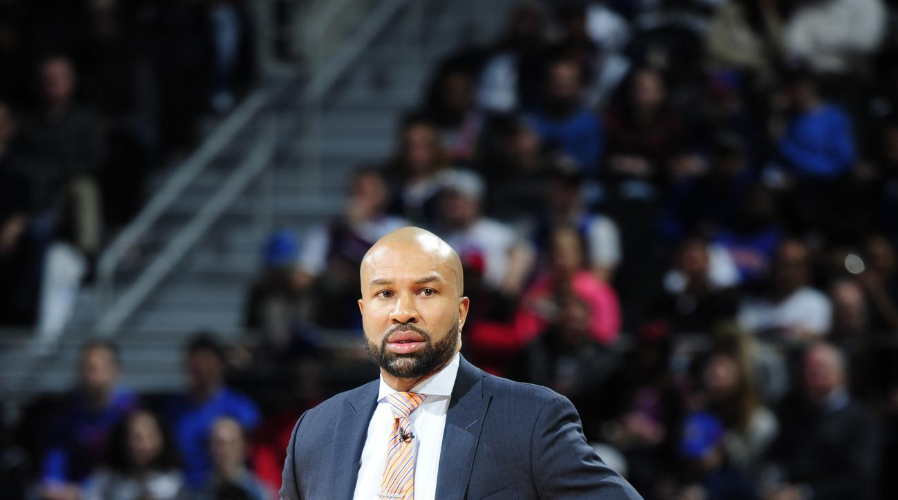 AUBURN HILLS, MI - FEBRUARY 4: Derek Fisher of the New York Knicks is seen during the game against the Detroit Pistons on February 4, 2016 at The Palace of Auburn Hills in Auburn Hills, Michigan. (Photo by Allen Einstein/NBAE via Getty Images)