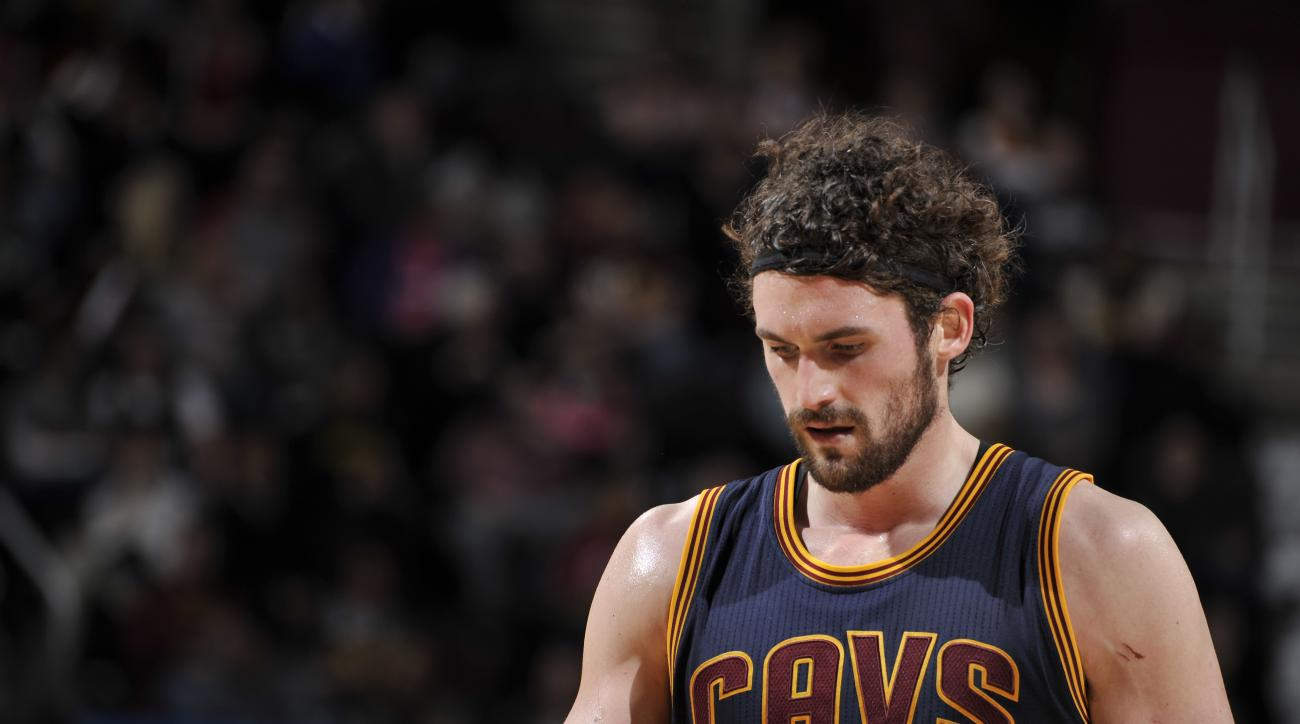 CLEVELAND, OH - FEBRUARY 5: Kevin Love #0 of the Cleveland Cavaliers is seen lduring the game against the Boston Celtics on February 5, 2016 at Quicken Loans Arena in Cleveland, Ohio.  (Photo by David Liam Kyle/NBAE via Getty Images)