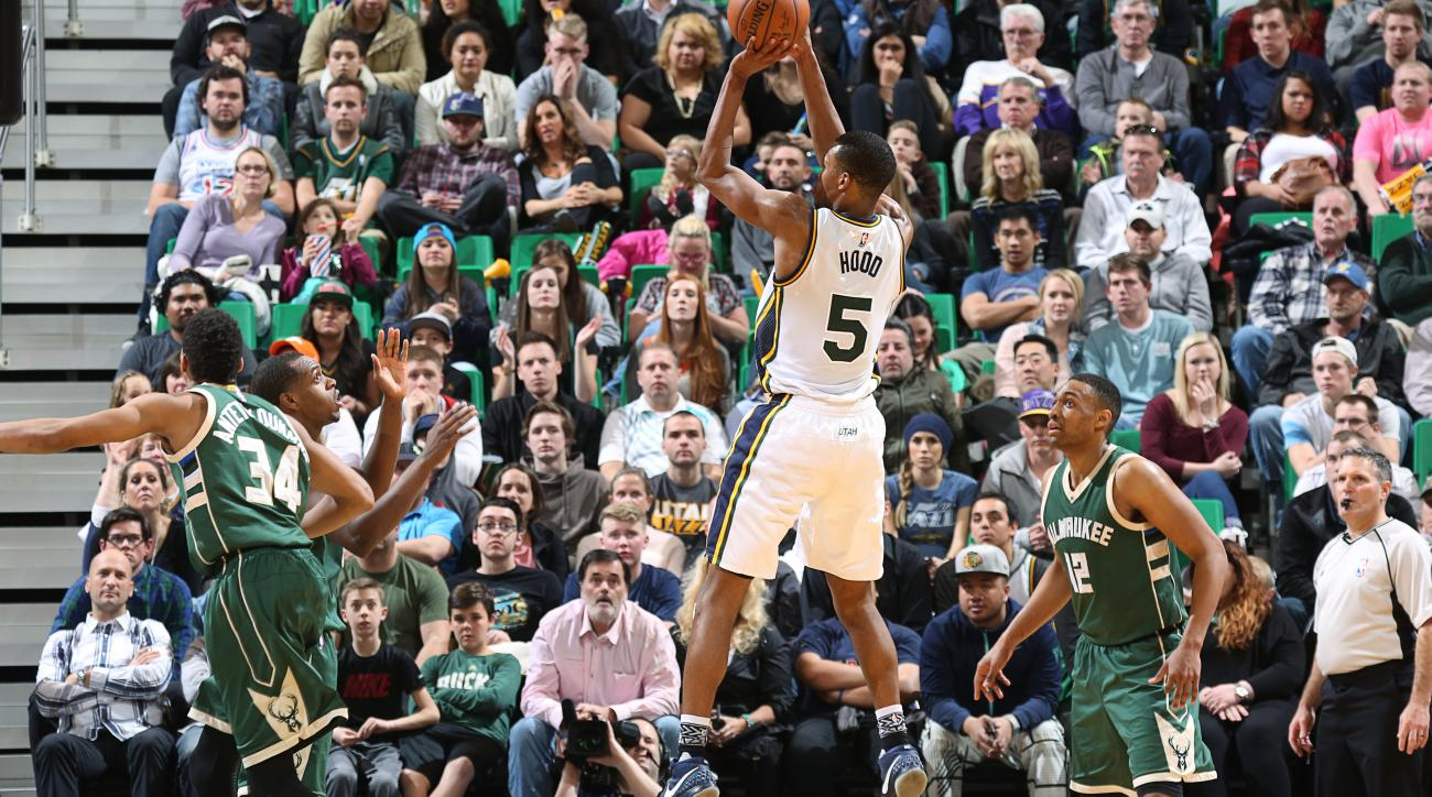 SALT LAKE CITY, UT - FEBRUARY 5: Rodney Hood #5 of the Utah Jazz shoots against the Milwaukee Bucks during the game on February 5, 2016 at Vivint Smart House Arena in Salt Lake City, Utah. (Photo by Melissa Majchrzak/NBAE via Getty Images)