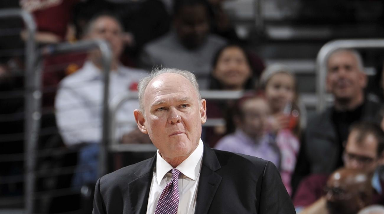 CLEVELAND, OH - FEBRUARY 8:  Head Coach George Karl of the Sacramento Kings looks on during the game against the Cleveland Cavaliers on February 8, 2016 at Quicken Loans Arena in Cleveland, Ohio. (Photo by David Liam Kyle/NBAE via Getty Images)