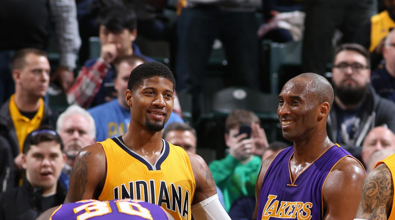 INDIANAPOLIS, IN - FEBRUARY 8: Kobe Bryant #24 of the Los Angeles Lakers and Paul George #13 of the Indiana Pacers are seen during the game on February 8, 2016 at Bankers Life Fieldhouse in Indianapolis, Indiana. (Photo by Gary Dineen/NBAE via Getty Image