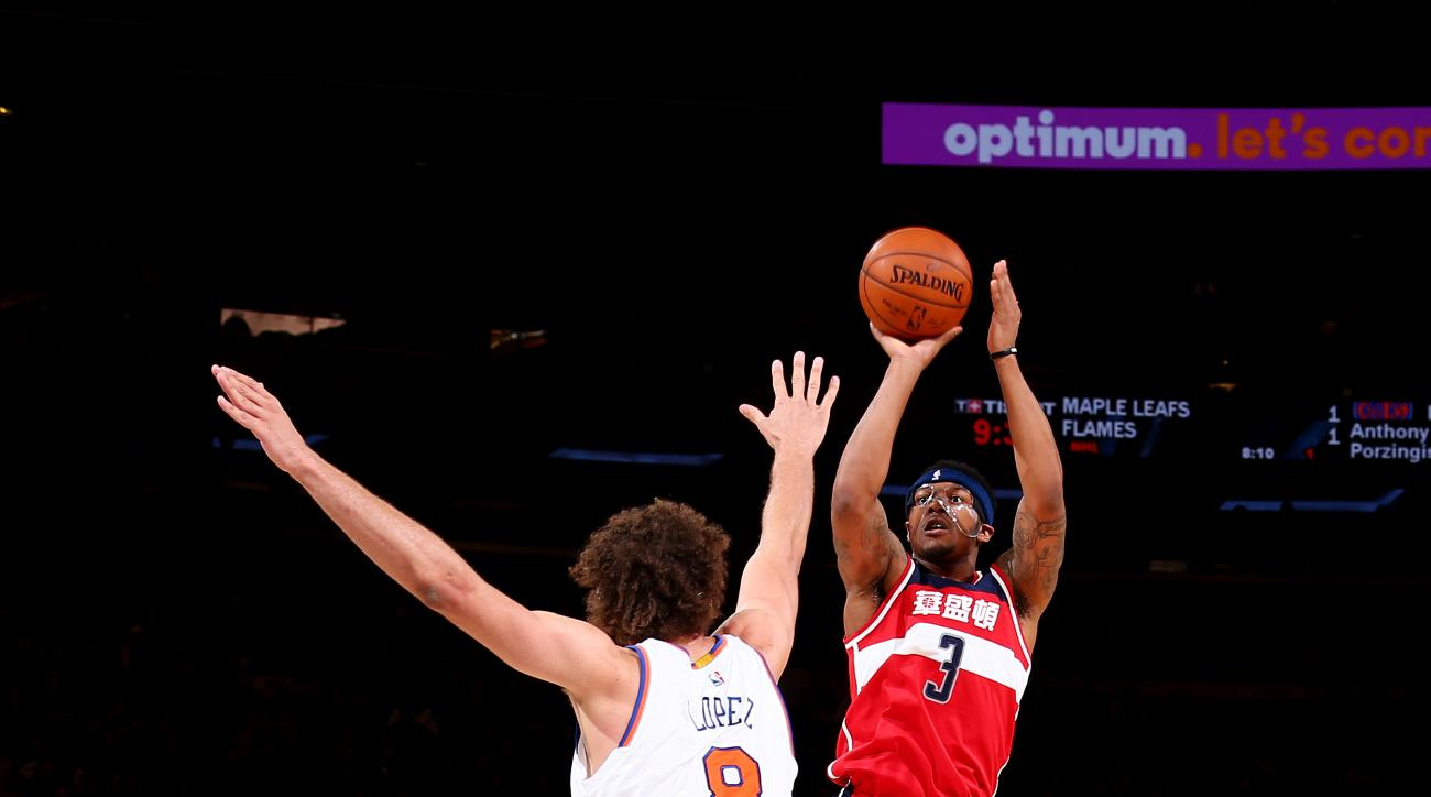 NEW YORK, NY - FEBRUARY 9:  Bradley Beal #3 of the Washington Wizards shoots the ball against the New York Knicks on February 9, 2016 at Madison Square Garden in New York City, New York.  (Photo by Nathaniel S. Butler/NBAE via Getty Images)