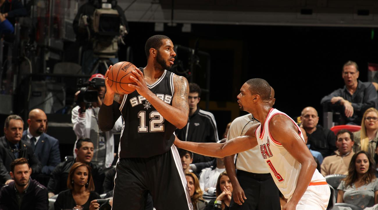 MIAMI, FL - FEBRUARY 9:  LaMarcus Aldridge #12 of the San Antonio Spurs handles the ball against Chris Bosh #1 of the Miami Heat on February 9, 2016 at American Airlines Arena in Miami, Florida. (Photo by Issac Baldizon/NBAE via Getty Images)