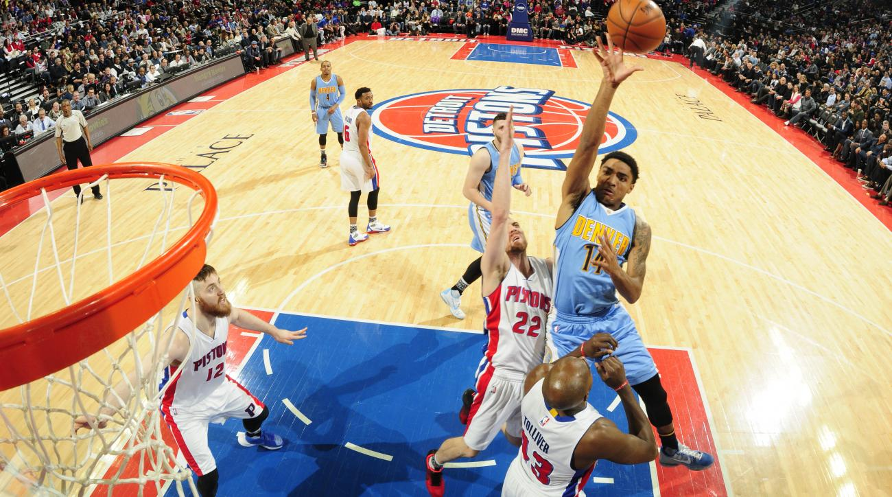 AUBURN HILLS, MI - FEBRUARY 10: Jusuf Nurkic #23 of the Denver Nuggets shoots against the Detroit Pistons during the game on February 10, 2016 at The Palace of Auburn Hills in Auburn Hills, Michigan. (Photo by Allen Einstein/NBAE via Getty Images)