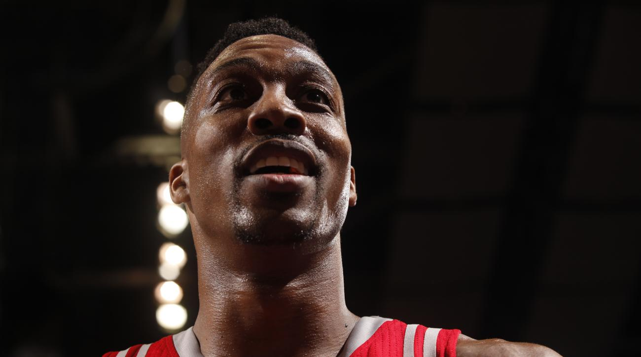PORTLAND, OR - FEBRUARY 10:  Dwight Howard #12 of the Houston Rockets looks on during the game against the Portland Trail Blazers on February 10, 2016 at the Moda Center in Portland, Oregon. (Photo by Cameron Browne/NBAE via Getty Images)