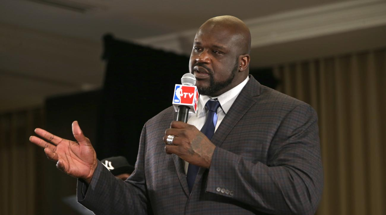 TORONTO, CANADA - FEBRUARY 12:  Shaquille O'Neal is announced as one of the finalist for the the Naismith Memorial Basketball Hall of Fame class of 2016 during the 2016 NBA All-Star Weekend at the Sheraton Centre Toronto Hotel on February 12, 2016 in Toro