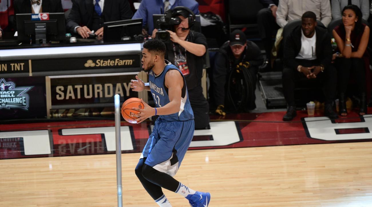 TORONTO, CANADA - FEBRUARY 13:  Karl-Anthony Towns #32 of the Minnesota Timberwolves dribbles the ball during the Taco Bell Skills Challenge as part of 2016 NBA All-Star Weekend on February 13, 2016 at the Air Canada Centre in Toronto, Ontario, Canada.  (