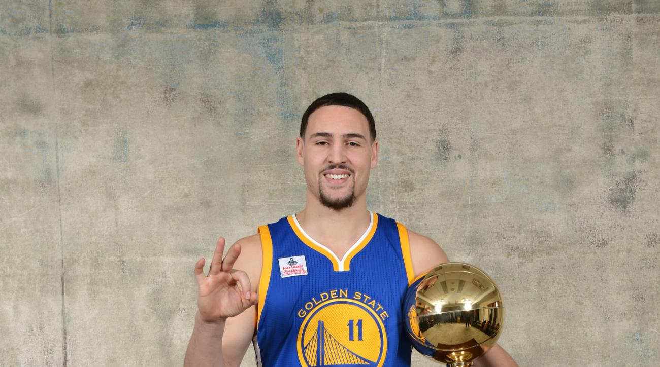 TORONTO, ON - FEBRUARY 13: Klay Thompson of the Golden State Warriors poses with his Foot Locker Three-Point Trophy as part of NBA All-Star 2016 on February 13, 2016 at the Air Canada Centre in Toronto, Ontario Canada. (Photo by David Dow/NBAE via Getty I