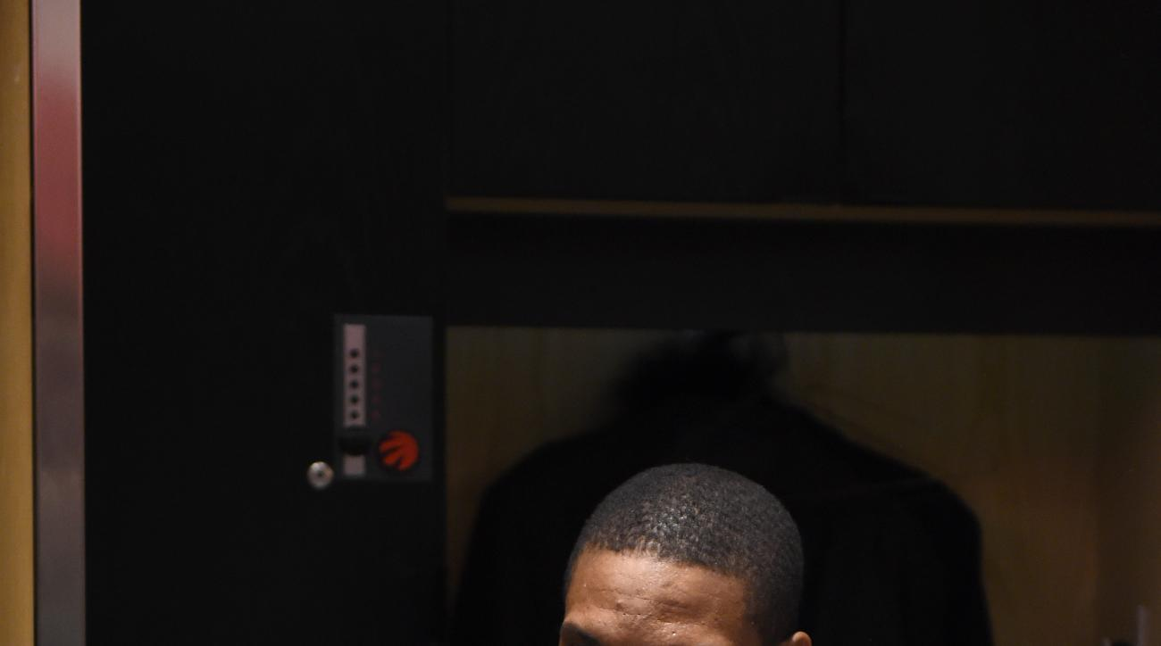 TORONTO, ON - FEBRUARY 14:  Chris Bosh #1 of the Eastern Conference in the locker room before the game as part of NBA All-Star 2016 on February 14, 2016 at the Air Canada Centre in Toronto, Ontario Canada. (Photo by AJ Messier/NBAE via Getty Images)