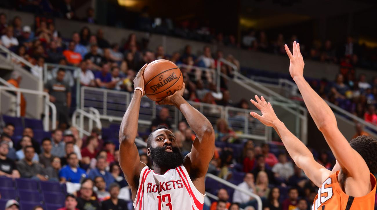 PHOENIX, AZ - FEBRUARY 19:  James Harden #13 of the Houston Rockets shoots the ball against the Phoenix Suns on February 19, 2016 at Talking Stick Resort Arena in Phoenix, Arizona. (Photo by Barry Gossage/NBAE via Getty Images)