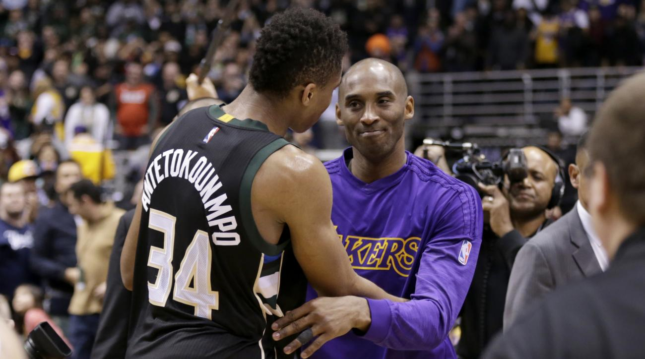 MILWAUKEE, WI - FEBRUARY 22: Kobe Bryant #24 of the Los Angeles Lakers hugs Giannis Antetokounmpo #34 of the Milwaukee Bucks after the game against the Milwaukee Bucks at BMO Harris Bradley Center on February 22, 2016 in Milwaukee, Wisconsin. (Photo by Mi